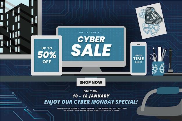 Płaskie cyber poniedziałek sprzedaż tło