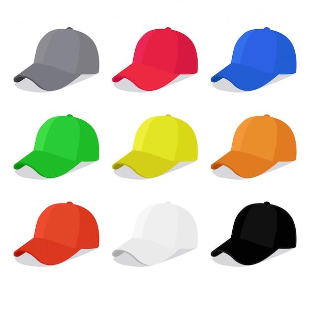 Płaskie czapki z różnymi kolorami