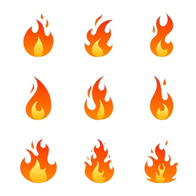 Płaskie czerwone i pomarańczowe płomienie ognia ustawione na białym tle