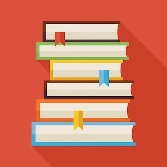 Płaskie czytanie książek wiedza ilustracja z cieniem. powrót do szkoły i edukacji ilustracji wektorowych. płaski kolorowe książki z długim cieniem. wnętrze biblioteki. czytaj książki z zakładkami