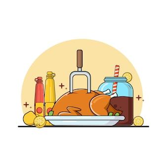 Płaskie danie główne jedzenie ilustracja