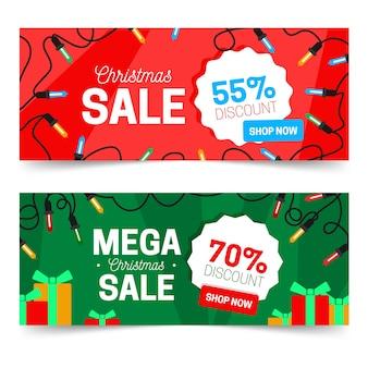 Płaskie desing zestaw świąteczny sprzedaż banerów