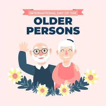 Płaskie dia de los abuelos ilustracja z dziadkami