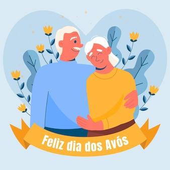 Płaskie dia dos avos ilustracja z dziadkami