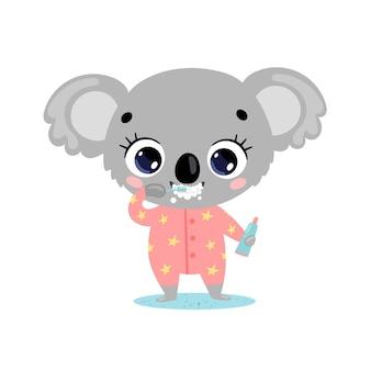 Płaskie doodle kreskówka dziecko koala mycie zębów. zwierzęta myją zęby.