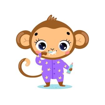 Płaskie doodle kreskówka dziecko małpa szczotkowanie zębów. zwierzęta myją zęby.