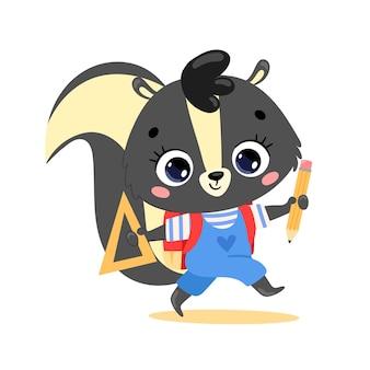 Płaskie doodle kreskówka skunks idzie do szkoły. zwierzęta wracają do szkoły