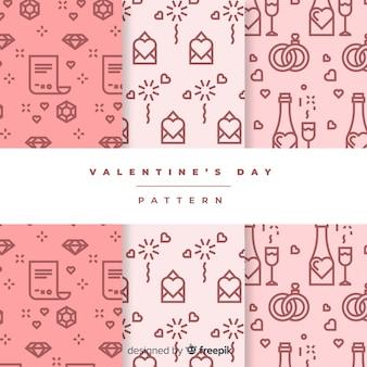 Płaskie doodle wzór valentine zestaw