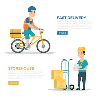 Płaskie dostawy logistyki i firmy spedycyjnej infografiki internetowe wektor banery