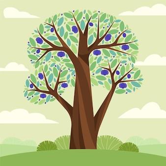 Płaskie drzewo śliwkowe ilustracja