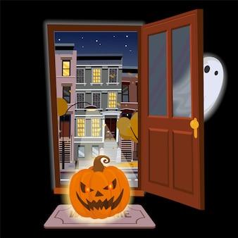 Płaskie drzwi halloween z gniewną świecącą dynią i ukrywaniem ducha. otwórz drzwi na widok gwiaździstej nocy jesienią z żółtymi drzewami. ilustracja stylu cartoon. uliczny pejzaż miejski na czarnym tle