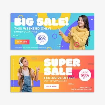 Płaskie duże banery sprzedaży ze zdjęciem