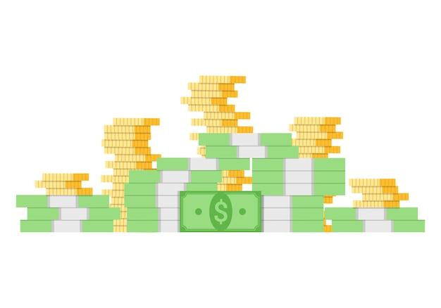 Płaskie duże pieniądze ilustracja z banknotów dolarowych i stosy złotych monet.