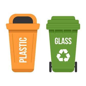 Płaskie dwa wielokolorowe kosze na śmieci z recyklingu