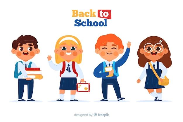 Płaskie dzieci z powrotem do kolekcji szkolnej
