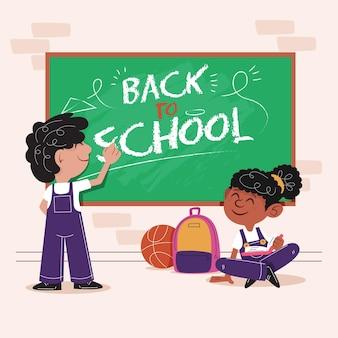Płaskie dzieci z powrotem do szkoły