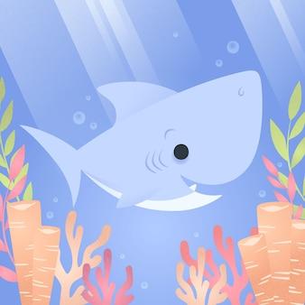 Płaskie dziecko rekin koncepcja