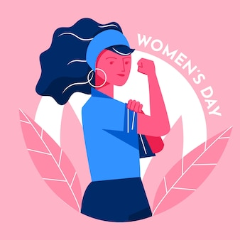 Płaskie dzień kobiet dziewczyna jest pewna siebie