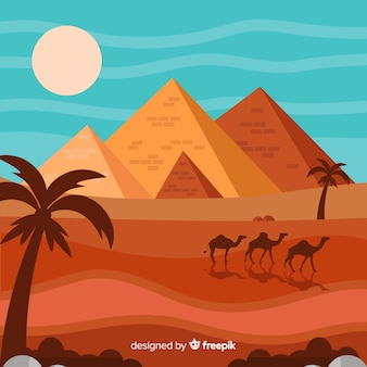 Płaskie egipt piramidy krajobraz z karawaną wielbłądów