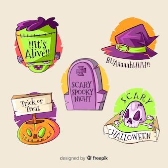 Płaskie elementy do kolekcji etykiet halloween