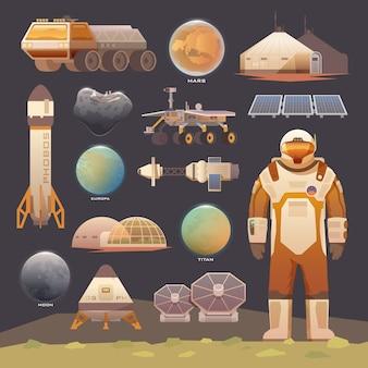 Płaskie elementy. eksploracja kosmosu.