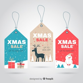 Płaskie elementy kolekcji etykiety świąteczne sprzedaż