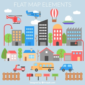 Płaskie elementy mapie