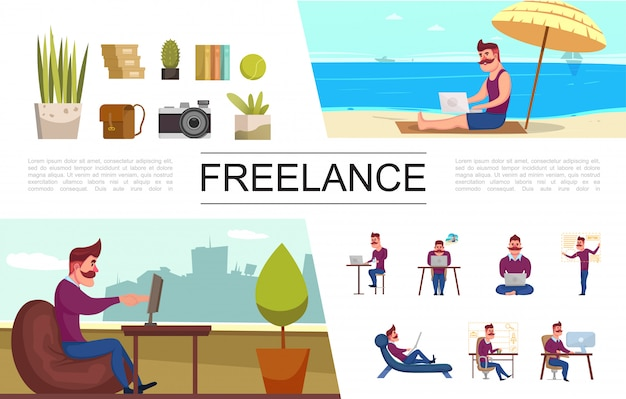 Płaskie elementy niezależne ustawione z freelancerem pracującym w biurze i na tropikalnej plaży rośliny torby na aparat fotograficzny