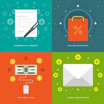 Płaskie elementy projektowania ilustracji wektorowych