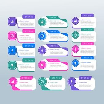 Płaskie elementy szablonu infographic