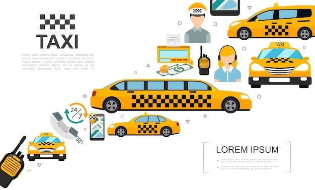 Płaskie elementy usługi taksówki zestaw z kierowcą samochodu operator licznika pieniędzy zestaw nawigatora radiowego na ilustracji ekranu telefonu komórkowego
