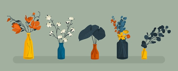 Płaskie elementy. zestaw szklanych wazonów z roślinami, liśćmi, kwiatami. wystrój domu. nowoczesny styl.