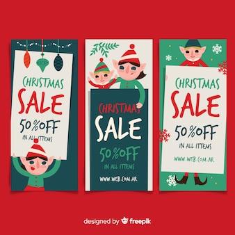 Płaskie elfy świąteczna wyprzedaż paczka transparent