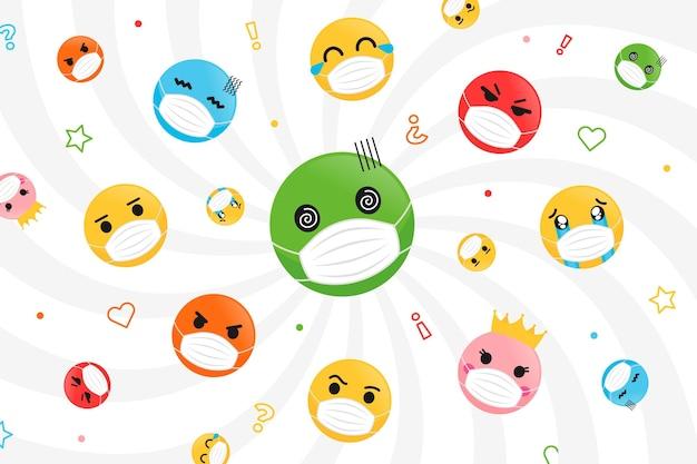 Płaskie emoji z tapetą z maską na twarz