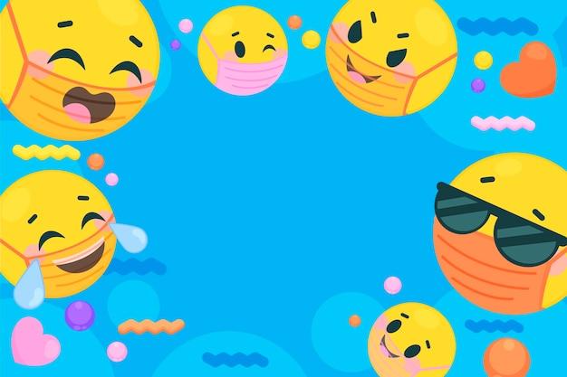 Płaskie emoji z tłem maski na twarz