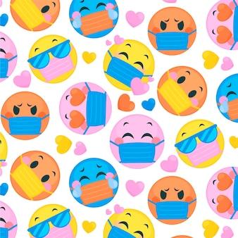 Płaskie emoji z wzorem maski na twarz