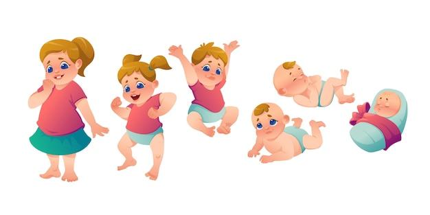 Płaskie etapy ilustracji córeczki