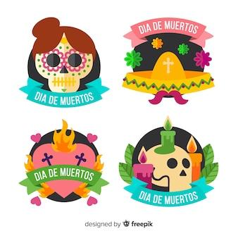 Płaskie etykiety día de muertos z kolekcją wstążek