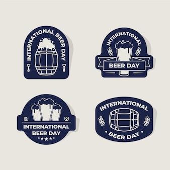 Płaskie etykiety międzynarodowego dnia piwa