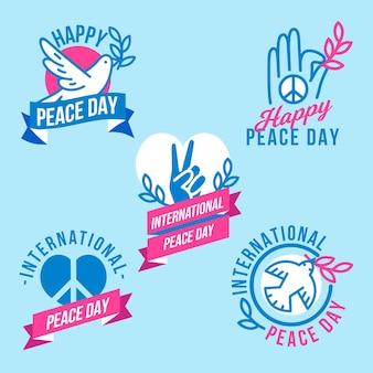 Płaskie etykiety międzynarodowego dnia pokoju