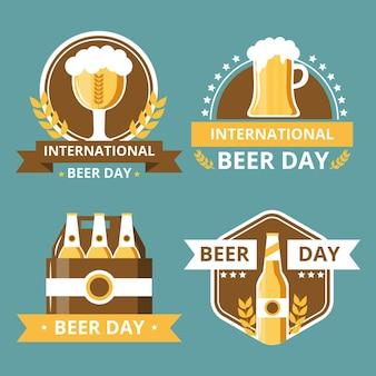 Płaskie etykiety międzynarodowych dzień piwa