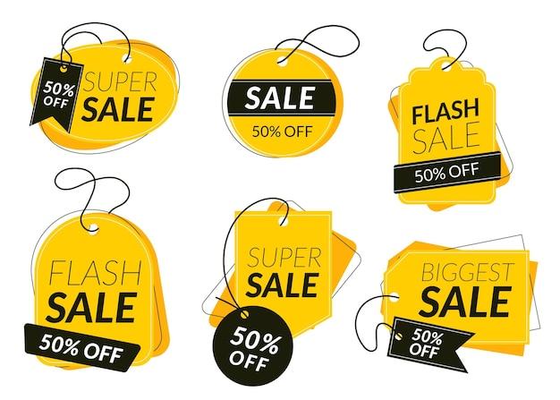 Płaskie etykiety sprzedażowe ze specjalną zniżką