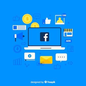 Płaskie facebookowe reklamy w tle