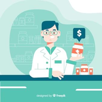 Płaskie farmaceuty uczestniczących w tle klientów