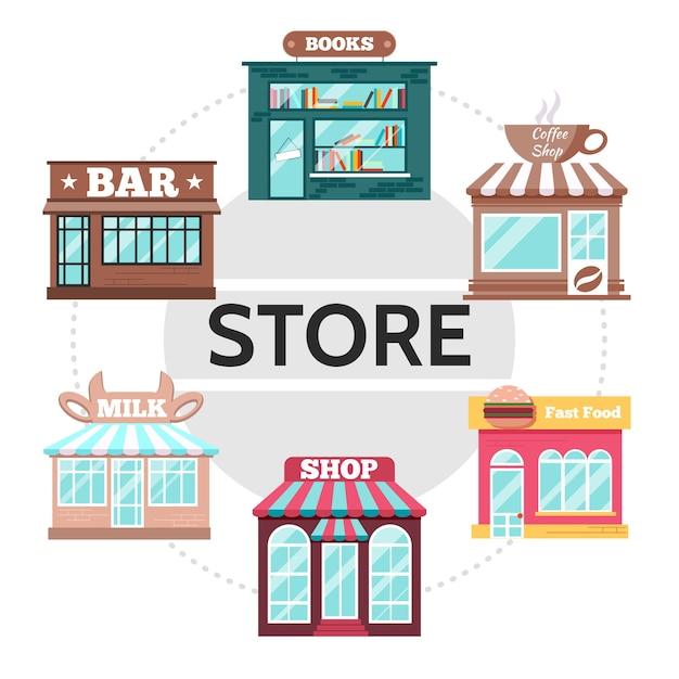 Płaskie fasady sklepu okrągłej koncepcji