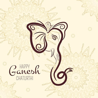 Płaskie ganesh chaturthi ilustracja koncepcja