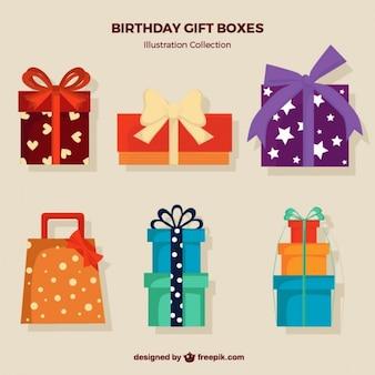 Płaskie giftboxes urodziny