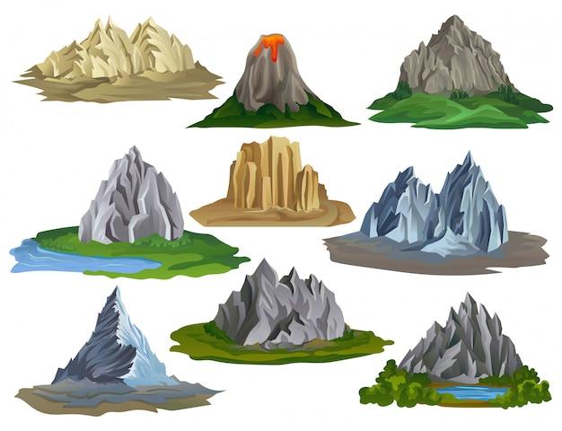 Płaskie góry i jeziora zestaw ilustracji na białym tle