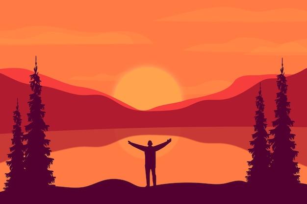 Płaskie góry krajobrazowe, w słoneczne popołudnia przepiękne jeziora