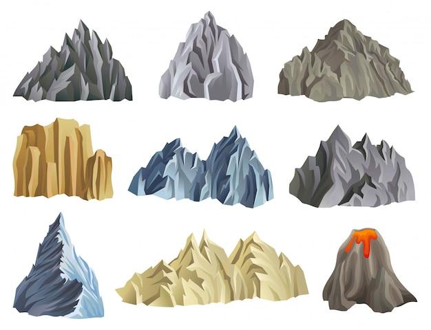 Płaskie góry zestaw ilustracji na białym tle
